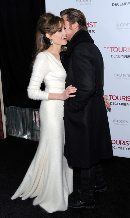 Whispering sweet nothings at the premiere of <em>The Tourist</em> in 2010.