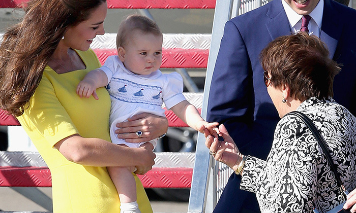 """How do you do?"" Like a proper little prince, England's future King knows how to greet people in a dignified manner.