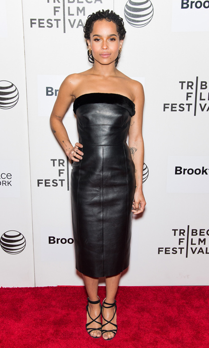 Zoe Kravitz was the picture of perfection in a strapless Balenciaga midi dress at the Tribeca premiere of 'Good Kill.'