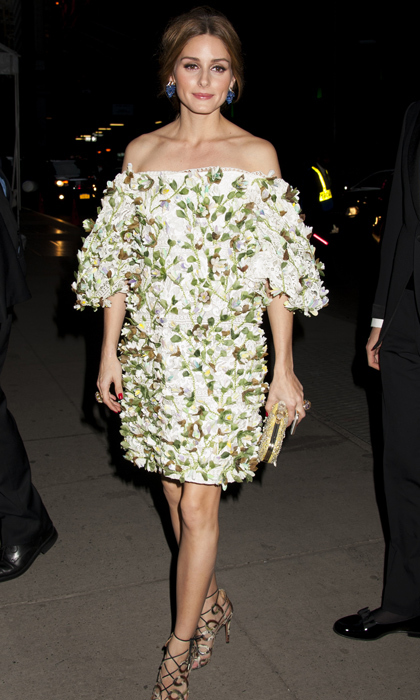 Olivia Palermo took flower power to a new level in a 3D-printed Marchesa dress and her own Olivia Palermo x Aquazzara heels while out in NYC.