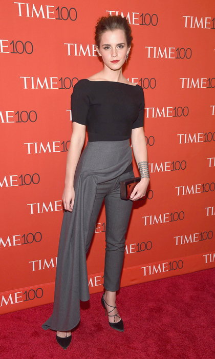 Emma Watson opted for the unconventional at the Time 100 Gala in a look by Christian Dior and lace up pumps.