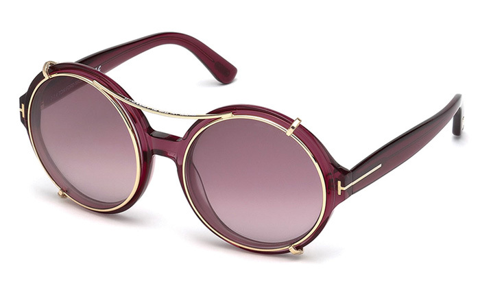 Tom Ford Juliet round pink sunglasses with clip-on shades,