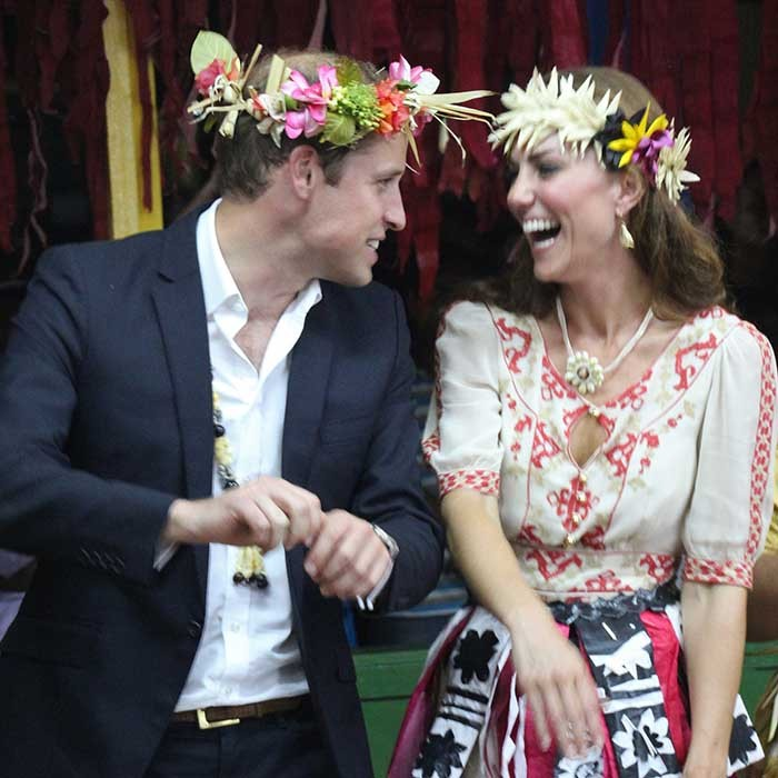 The Duke and Duchess shared a laugh as they danced together during an event in Tuvalu on Sept. 18, 2012.