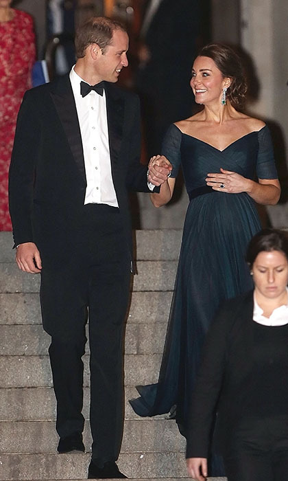 Beaming William held his pregnant wife's hand as they left the St Andrews 600th Anniversary Dinner on Dec. 9, 2014 in New York City.
