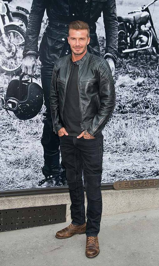 Channelling a biker for the launch of his capsule collection for Belstaff. Photo: © Getty Images
