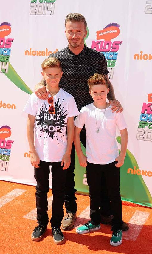Enjoying a day out with sons Romeo and Cruz at the Nickelodeon Kid's Choice Sports awards. Photo: © Getty Images