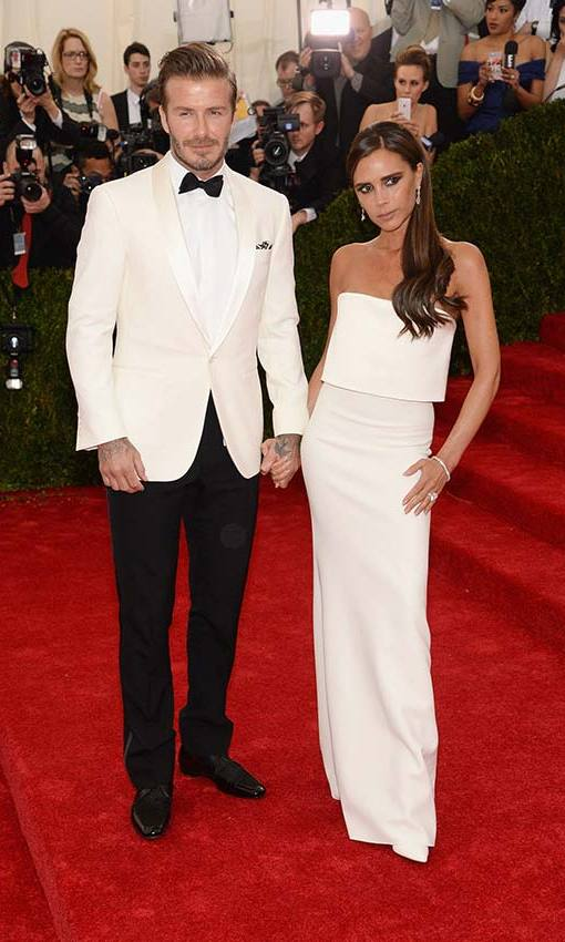 Matching Victoria's cream outfit at the 2014 Met Gala. Photo: © Getty Images