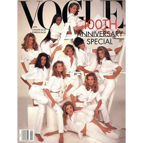 1992: In what is still considered one of the all-time best-selling issues of 'Vogue,' Linda graced the 100th anniversary issue of the fashion bible alongside friends Niki Taylor, Claudia Schiffer, Cindy Crawford and Christy Turlington. 