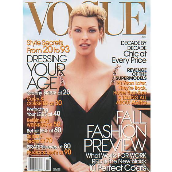 2006: Photographed in the early stages of her pregnancy, a glowing Linda Evangelista stunned on the cover of the August issue of 'Vogue'. Her son, Augustin, was born a few months later.