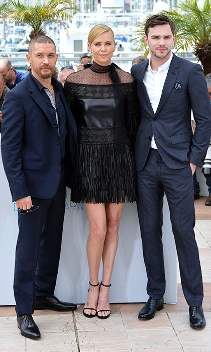Tom Hardy, Charlize Theron (in Valentino) and Nicholas Hoult. 