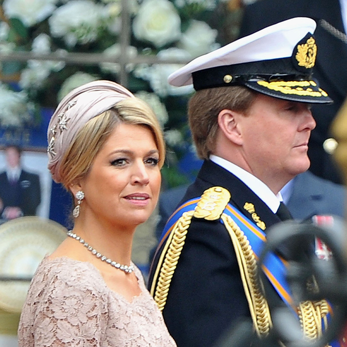 A then-Princess Máxima and her husband Willem-Alexander attend the wedding of Prince William and Kate Middleton in 2011.