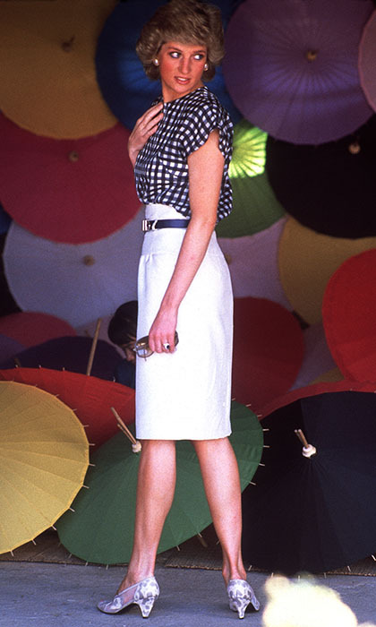"The <strong><a href=""/tags/0/princess-diana"">Princess of Wales</a></strong> paid an official visit to Thailand in a two-piece <Strong>Alastair Blair</strong> outfit – a white pencil skirt and checkered shirt. 