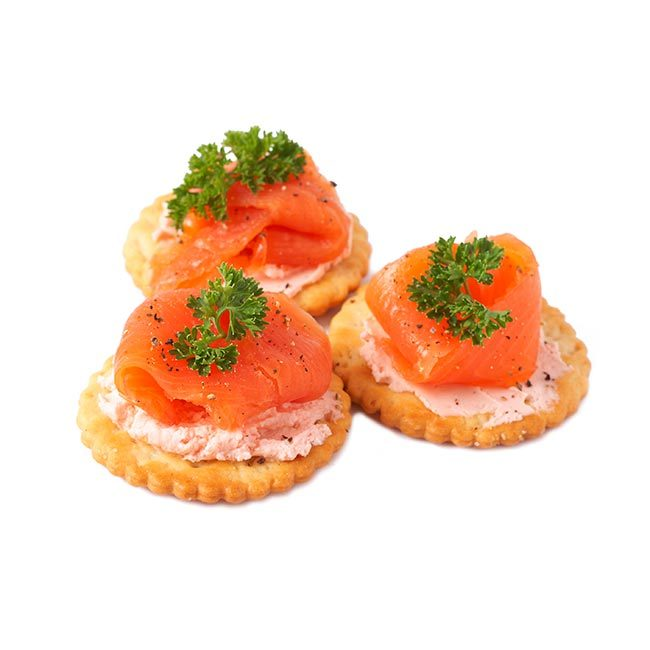 One slice of smoked salmon on a wholewheat cracker (50 calories)