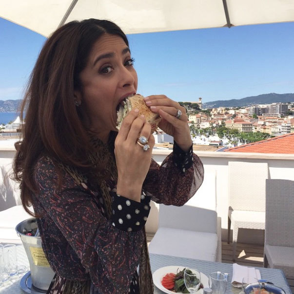 "Salma Hayek: ""This club sandwich went down in less than a minute. #Cannes2015 #giantsandwich""