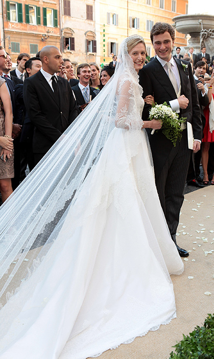 On July 5, 2014, Prince Amadeo wed his longtime love, Elisabetta Maria Rosboch von Wolkenstein. The 28-year-old Belgian royal, whose uncle is reigning monarch King Philippe, tied the knot with his Italian girlfriend of seven years at the Basilica Santa Maria in Trastevere, Rome. Elisabetta, who is known as Lili, stepped out in a breathtaking ivory Valentino gown with intricate lace detail. (Photo © Elisabetta A. Villa/WireImage)