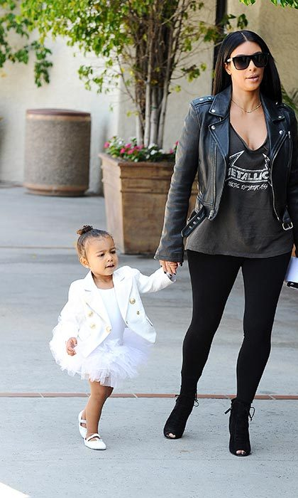 North wears a white tutu and Balmain jacket to ballet class. 