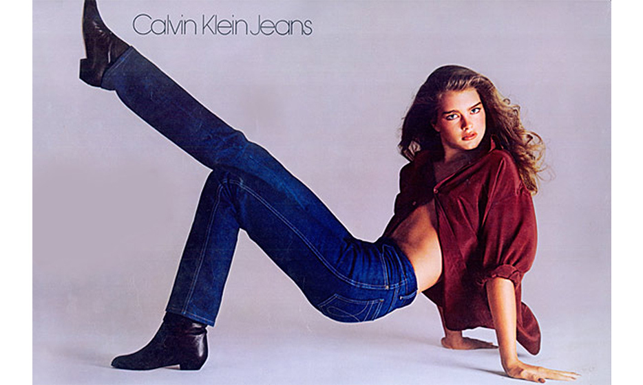 "In 1980, Brooke was the talk of the fashion world after a provocative commercial for Calvin Klein Jeans was released. In the video, Brooke, 15, says to the camera, ""Do you know what comes between me and my Calvins? Nothing,"" A few years ago, the former model revealed that she held onto the jeans from the shoot and that ""they fit but I have to lie on my bed to get them on. Very tight."" Photo © Calvin Klein"