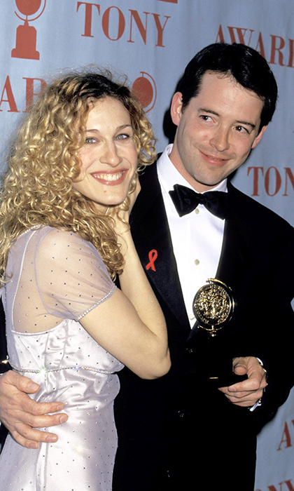 Matthew Broderick, who has over 10 Broadway credits to his name, won his first Tony at the age of 21 for 'Brighton Beach Memoirs'. Seen here, Sarah Jessica Parker joins him backstage after being crowned best actor for 1995's 'How to Succeed in Business Without Really Trying'. 
