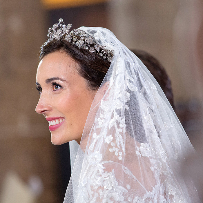 Prince Félix of Luxembourg's bride, Claire, wore a chantilly lace Elie Saab gown and the family's Vine Leaves tiara for the couple's 2013 wedding. Its leafy motif is comprised entirely of diamonds and set in yellow gold and silver.