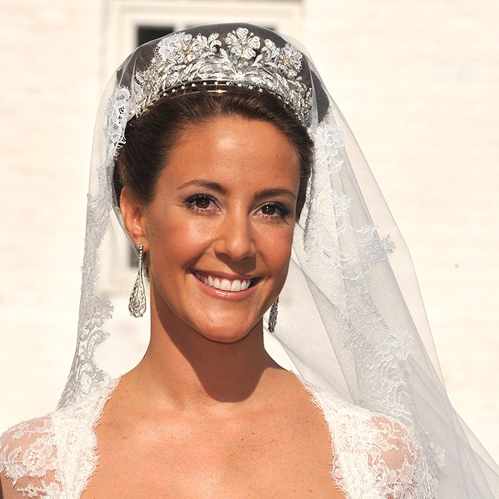 On the occasion of her marriage to Prince Joachim of Denmark in 2008, Marie Cavallier topped her veil with Denmark's Princess Dagmar Floral tiara. It is part of Queen Margrethe's collection now, but the monarch has let her daughter-in-law borrow it for many special occasions.  