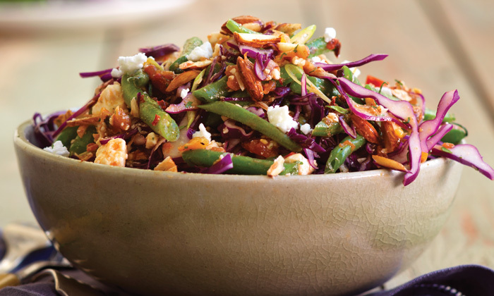 Green Bean and Purple Cabbage Slaw with Garlicky Tomato Vinaigrette