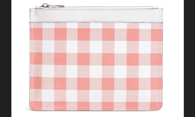 Brooks Brothers leather gingham clutch, $307, brooksbrothers.com