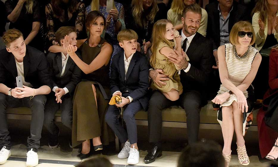 Now that David Beckham has retired from playing professional soccer, he has all the time in the world to spend with his four children with Victoria Beckham. Here, the family (From left: Brooklyn, Cruz, Victoria, Romeo, Harper and David) sit front row with Anna Wintour during 2015's New York Fashion Week.  