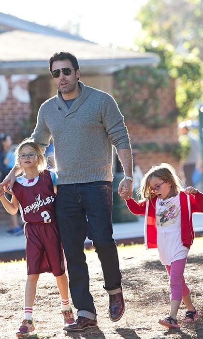 Ben Affleck is the ultimate chauffeur, shuttling daughters Violet (L) and Seraphina and son Samuel to and from their various after-school activities.  