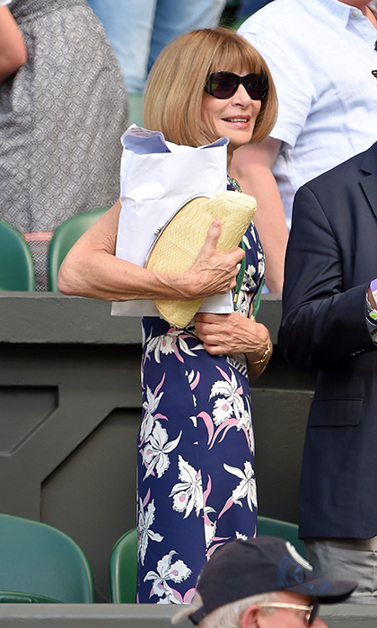 'Vogue' editor Anna Wintour had her arms full.