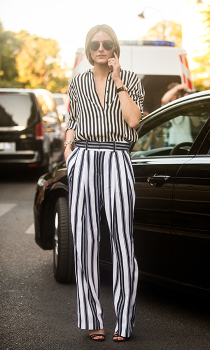 Olivia Palermo flexed her mixing skills - and her street-style savvy - in head-to-toe stripes at Giambattista Valli's bi-annual fashion show.