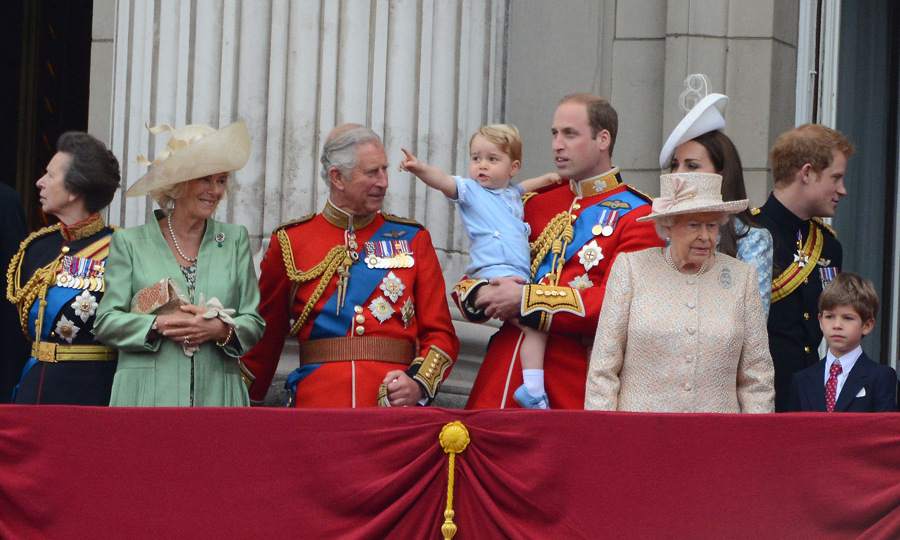 Prince George at the midst of the royal family during his most high-profile event to date - Trooping the Colour.