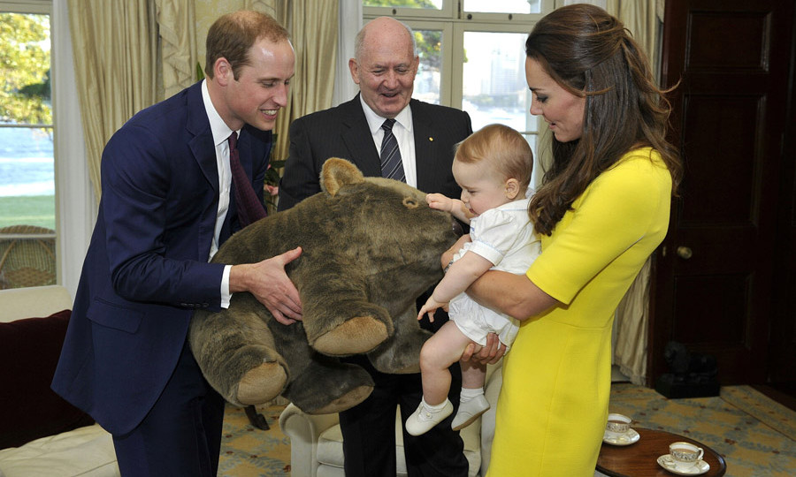 Prince George checking out a giant wombat toy - one of the numerous gifts the Duke and Duchess recieved on their tour of Australia and new Zealand in 2014.