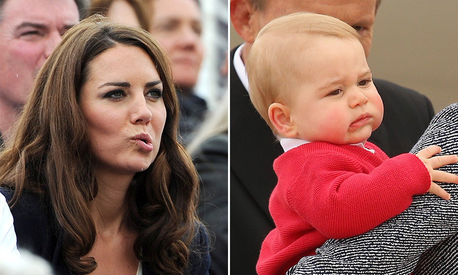 George does his best impression of mom Kate during the family's tour to New Zealand and Australia in 2014. Photo: © Getty Images