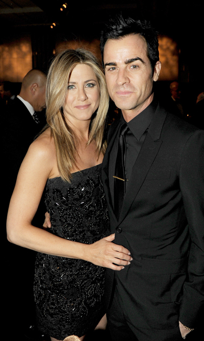 Jen and Justin are beautiful in black at the 2012 Directors Guild of America Awards cocktail reception.