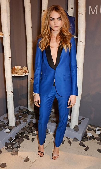 Cara was the ultimate fashionista as she launched a collection of bags for Mulberry whilst wearing a striking blue tuxedo.