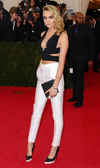Rocking a crop top and cropped trousers for the 2014 Met Gala.