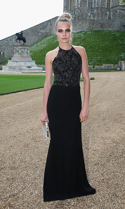 Looking elegant in a black gown at a gala in Windsor hosted by the Duke of Cambridge.