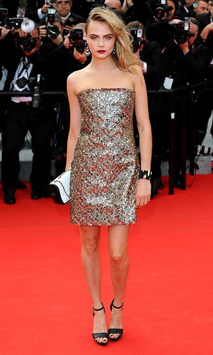 Cara was the epitome of glam in a sequinned dress at the 2014 Cannes Film Festival.