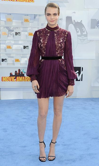 Rocking a chic burgundy dress for the 2015 MTV Movie awards.