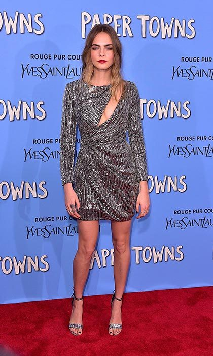 Dazzling in sequins at the Paper Towns premiere in New York.