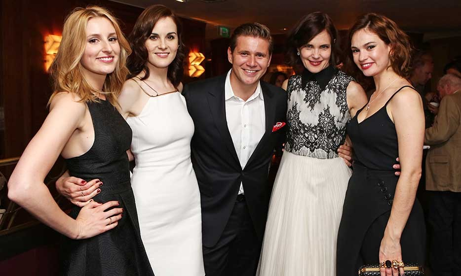 That's a wrap! The cast of 'Downton Abbey' (From L: Laura Carmichael, Michelle Dockery, Allen Leech, Elizabeth McGovern and Lily James) salute the final season of the period drama at a party in London. 