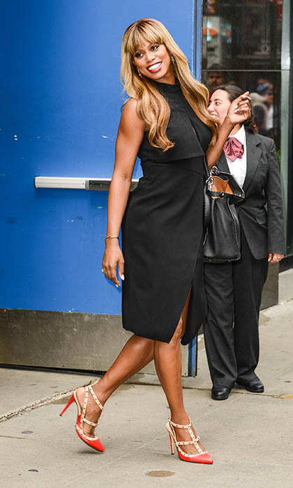 'Orange is the New Black' star Laverne Cox heads to a taping of 'Good Morning America' in Times Square. 