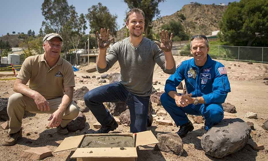 Matt Damon made his mark in cement at the Jet Propulsion Laboratory Mars Yard in California. The actor plays NASA astronaut Mark Watney in the new Ridley Scott-directed flick 'The Martian' – set to premiere at TIFF in September. 