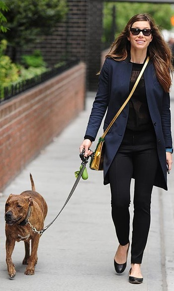 New mom Jessica Biel and her brindle pitbull, Tina (of #TuesdayswithTina), made a very stylish pair when they were spotted strolling around the East Village together.