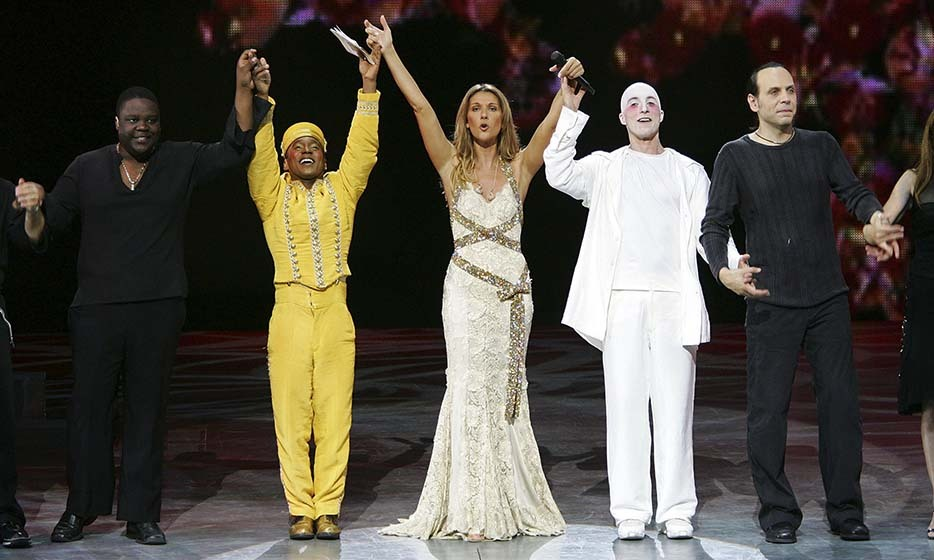 "Celine and her cast members celebrate the 500th performance of ""A New Day..."" in 2006. The show raised over $1 million for the Celine Dion Foundation. 