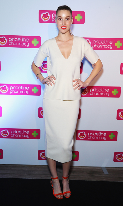 Whitney Port stepped out at the Festival of Beauty campaign launch in minimalist ivory ensemble complete with scalloped Loeffler Randall sandals