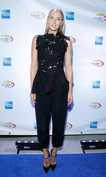 Maria Sharapova attended the American Express Rally on the River event in a lace peplum top by Max Mara, relaxed trousers and t-strap pumps.