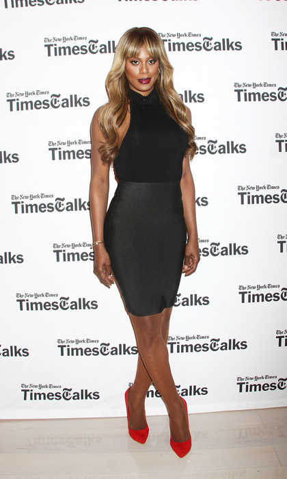 At the 'New York Times'-hosted 'TimesTalks' event, Laverne Cox added a punch of colour to her chic black look with bright suede pumps. 