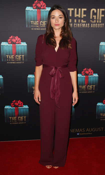 Actress Crystal Reed made a serious case for the jumpsuit in a gorgeous maroon ensemble by Bec and Bridge. 