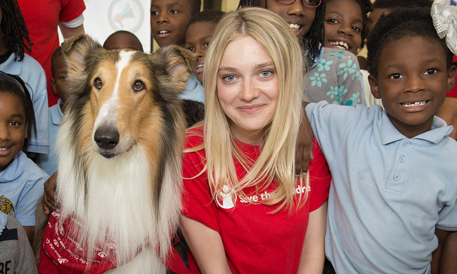Actress Dakota Fanning recognizes the 10th anniversary of Hurricane Katrina by joining Save the Children's paw-fect ambassador Lassie at a 'Prep Rally' for New Orleans children at the Treme Community Centre. 